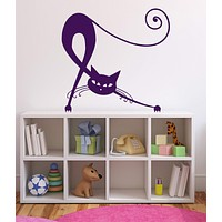 Vinyl Decal Animals Wall Stickers Elegant Beautiful Black Cat Tail Claws Eyes Ears Decor Unique Gift (n371)