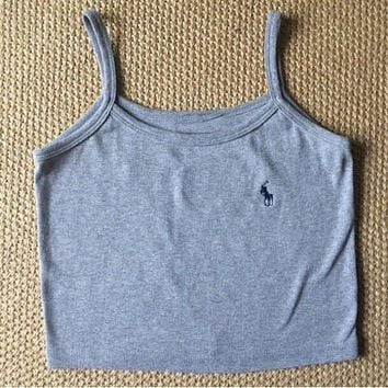 POLO Fashion Solid color Vest Tank Top Camisole Shirt Tee