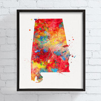 Alabama State Map, Alabama Poster, State Wall Decor, Alabama Art Print, Alabama Watercolor, Travel Art, Dorm Decor, Alabama Painting