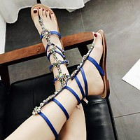 Hot-selling fashionable large size 35-42 diamond sandals and flat sandals Sapphire blue