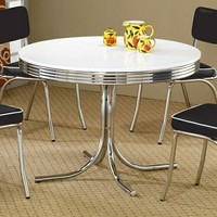 5 pc retro chrome finish 50's diner round white top dining table set black or red cushions.