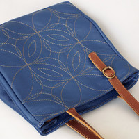 Blue leather tote bag. Embroidered leather tote. Navy blue leather shoulder bag.