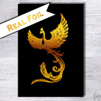 Harry Potter poster Harry Potter print Phoenix art poster Real gold foil decor Harry Potter real foil print Home decoration Gift art G5
