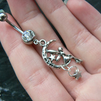 fairy on moon charm belly ring stars  in fantasy  and hipster style