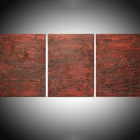 "ARTFINDER: - Red vanquish - three piece extra large triptych 3 panel wall art painting big canvas wall abstract canvas impasto modern 54 x 24"" by Stuart Wright - "" Red Vanquish "" impasto modern art piece for h..."
