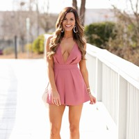 Just One Look Romper In Mauve