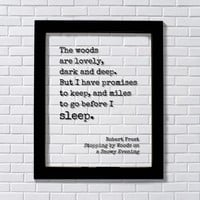 Robert Frost - The woods are lovely, dark and deep - promises to keep and miles to go before I sleep