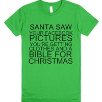 Santa Saw Your Facebook-Female Grass T-Shirt