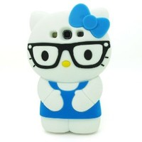 LliVEER 3d Cute Hello Kitty Cat Soft Silicone Rubber Gel Case Cover Skin for Samsung Galaxy S3 III I9300 (glasses/Blue)
