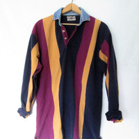 Vintage 1990s County Seat Denim Rugby Collar Striped Polo Pullover Sz S