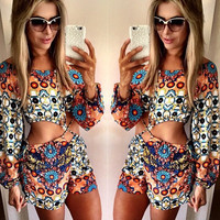 Floral Strappy Cut-Out Long Sleeve Romper