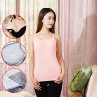 2Pcs/Lot Maternity Camisole Cotton Padded Nursing Tank Tops Breast Feeding Vest Clothes for Pregnant Women Cami Top 7 Colors