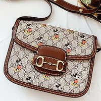GUCCI & Disney New fashion more letter mouse print leather shoulder bag crossbody bag