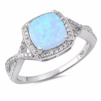 Sterling Silver CZ Lab Light Blue Opal Simulated Diamond Halo Ring