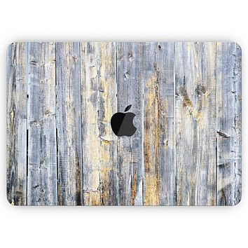 """Vintage Wooden Planks with Yellow Paint - Skin Decal Wrap Kit Compatible with the Apple MacBook Pro, Pro with Touch Bar or Air (11"""", 12"""", 13"""", 15"""" & 16"""" - All Versions Available)"""