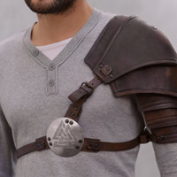 Brown Leather Valknut Shoulder Armor