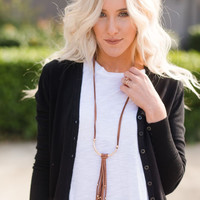 Knit Button Up Cardigan In Black