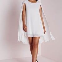 Missguided - Cape Overlay Swing Dress White