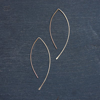 Simple Hammered Almond Wire Earring