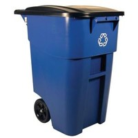 Rubbermaid Commercial Products, BRUTE 50 gal. Blue Rollout Recycling Trash Container with Lid, FG9W27-73BLU at The Home Depot - Mobile