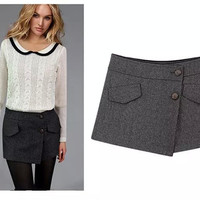 Button Knitted Skirt Shorts