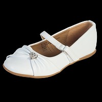Infant White Dress Shoes with a Rhinestone Heart & Velcro Top Strap