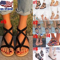 Women Summer Strappy Gladiator Low Flat Heel Flip Flops Beach Sandals Shoes Size   1