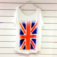 Union Jack Women T shirt Top Blouse