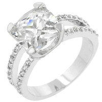 Double Band Cubic Zirconia Engagement Ring, size : 07