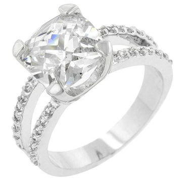 Double Band Cubic Zirconia Engagement Ring, size : 05