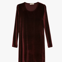 Long Sleeve Velvet Dress In Red