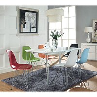 LexMod Simplicity Dining Table in White and Wire Eiffel Chairs in Clear