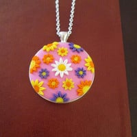 statement necklace pink,colorful statement necklace,floral cameo necklace,vintage cameo necklace,spring necklace,flower necklace, gift mom
