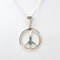 """Peace Sign Necklace Sterling Silver 20"""""""