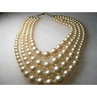 "Vintage Multi-Strand Graduated Faux Pearl Choker/Necklace, 14""-17"", 1940's, Four Strands"