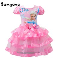 2017 Toddlers Baby Girl Elsa Princess Dress Blue Pink Clothes Anna Dress Print Gown Elza Costume Girls Party Clothing