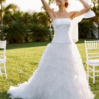 Tulle and Organza Ball Gown with Beaded Lace