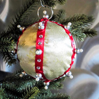 Christmas Ornament, Gold Ball with Red, Silver & Pearl Accents in Gift Box, Handmade Fabric Tree Decoration, Holiday Decor, Hostess Present