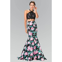 2 piece floral Mermaid prom dress # GL2259