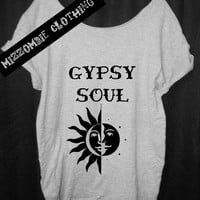Gypsy Soul Shirt,  Bohemian. Tshirt, Off The Shoulder, Over sized,   graphic tee, regular and plus size