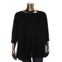 Charter Club Womens Plus Knit Dolman Sleeves Tunic Sweater