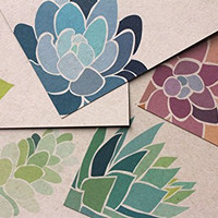 Set of 10 Succulent Notecards - flat note cards printed on recycled paper
