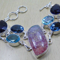 Snakeskin Quartz Amethyst,Topaz& 925 Silver Overlay Bracelet 200mm x 35mm Birtstone november and Feb,Gifts Under 10,20,30 ,Silver Bracelet