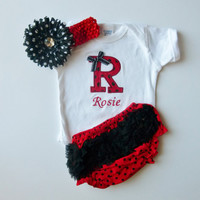 Monogram Red and Black Polka Dot Baby Girl Gift Set Onesuit Ruffle Butt Bloomers and Flower Polka Dot Daisy Hairbow