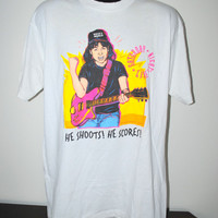 1992 Wayne's World He Shoots! He Scores! Rare Vintage 90's Cult Classic Saturday Night Live Rocker Party Skit TV Show T-Shirt