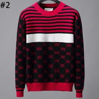 GUCCI autumn and winter new striped color matching jacquard letter round neck shirt T-shirt #2