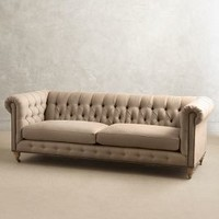 Linen Lyre Chesterfield Sofa, Wilcox by Anthropologie