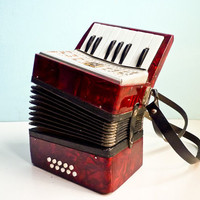 Vintage accordion red pearl russian for kids working condition