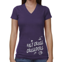 Holy Cross Crusaders Ladies Paint Strokes V-Neck T-Shirt - Purple