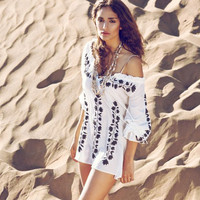 Cotton Embroidered Beach Dress Cover Up